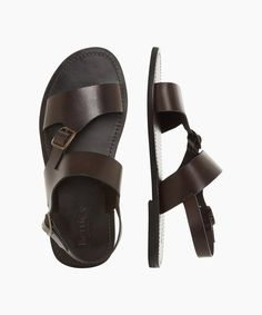 Brown Sandals, Men Sandals, Leather Wallet Pattern, Gucci Shoes, Toe Shape, Metal Buckles, Leather Material, Dune, Brown Leather