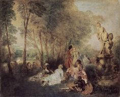 Jean-Antoine Watteau - The Love Festival, oil on canvas, 61 x 75 cm, Gemäldegalerie Alte Meister © State Art Collections in Dresden. Rococo Painting, Oil Painting Reproductions, Rembrandt, Francisco Goya, Feast Of Love, Jean Antoine Watteau, Web Gallery Of Art, Google Art Project, French Rococo