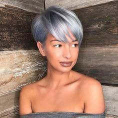 Pixie Haircuts with Bangs - 50 Terrific Tapers - - Long Pastel Blue Pixie Long Pixie Hairstyles, Short Pixie Haircuts, Haircuts With Bangs, Trending Hairstyles, Pixie Bob, Casual Hairstyles, Medium Hairstyles, Latest Hairstyles, Hairstyles Haircuts