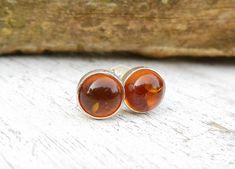 Amber Stud Earrings  Sterling Silver Studs  by wwcsilverjewelry