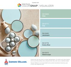 I found these colors with ColorSnap® Visualizer for iPhone by Sherwin-Williams: Aloe (SW Cay (SW Jetstream (SW Aviary Blue (SW Waterscape (SW Coastal Paint Colors, Room Paint Colors, Interior Paint Colors, Paint Colors For Home, Wall Colors, Colours, Light Blue Paint Colors, Decoration Palette, Beach Color