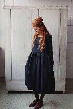 The Bethany linen romantic smock dress (black)