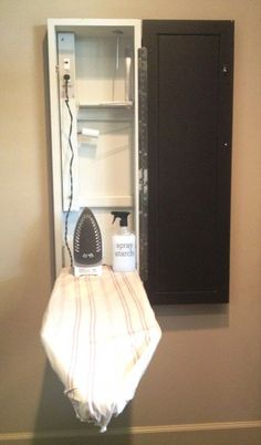 Ironing board cupboard with integrated electrical for laundry room or even master bathroom. I love the idea of an ironing board cabinet so it's easier to take the ironing board out and in. Laundry Closet, Laundry Room Organization, Small Laundry, Laundry Room Design, Laundry In Bathroom, Master Bathroom, Laundry Rooms, Laundry Organizer, Boys Closet