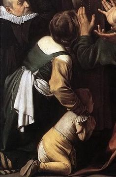 Caravaggio (Michelangelo Merisi) - Madonna of the Rosary, 1605-07, detail