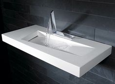 HANSA's unique touchless bathroom faucets are playful, modern and radical in their design, producing wide streams of water for the sink. Unique Bathroom Sinks, Bathroom Sink Design, Bathroom Sink Faucets, Bathroom Interior Design, Small Bathroom, Bathrooms, Lavabo Design, Washbasin Design, Bad Inspiration