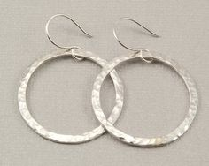 Large silver hoop earrings hammered silver hoops, handmade silver jewelry by BellesBijouxDesigns, $38.00