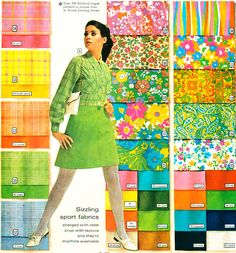 Montgomery Wards Spring  Summer 1968 color and pattern swatches, p. 210