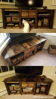 Kitty cornered entertainment center made from old pallets – stained with Dark Walnut sealed with matte polycrylic. Kitty cornered entertainment center made from old pallets – stained with Dark Walnut sealed with matte polycrylic. Pallet Entertainment Centers, Living Room Entertainment Center, Entertainment Ideas, Entertainment Furniture, Tv Diy, Corner Tv Stands, Corner Tv Stand Ideas, Corner Tv Stand Rustic, Corner Tv Shelves