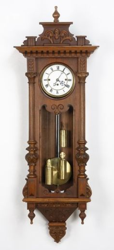 19th C. 3-weight Vienna Regulator Clock