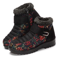 Floral Magic Stick Artificial Suede Faux Fur Lining Warm Ankle Snow Boots