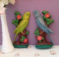 Vintage chalkware parrots retro wall decor by LakesideVintageShop