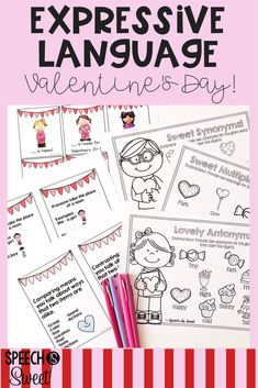 Valentine's Day Expressive Language! This packet is full of no prep pages and fun card games! These activities are great for speech-language therapy! Skills address pronouns, synonyms, antonyms, comparing/contrasting, and more!