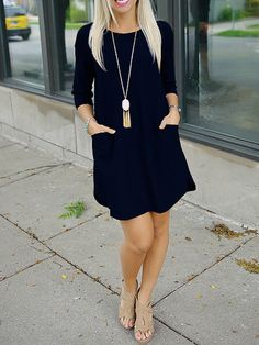 SheIn offers Black Twin Pocket Half Sleeve Dress & more to fit your fashionable needs. Half Sleeve Dresses, Black Long Sleeve Dress, Half Sleeves, Fashion Wear, Work Fashion, Fashion Outfits, Black Dress With Pockets, Dress Pockets, Shift Dress Outfit