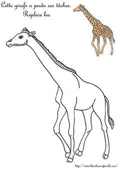Le bonheur en famille: Fiche maternelle, la girafe...