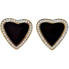 Preowned Black Onyx And Diamond Heart Earrings (25.625 NOK) ❤ liked on Polyvore featuring jewelry, earrings, black, heart jewelry, heart shaped diamond jewelry, black onyx jewelry, heart jewellery and diamond earrings