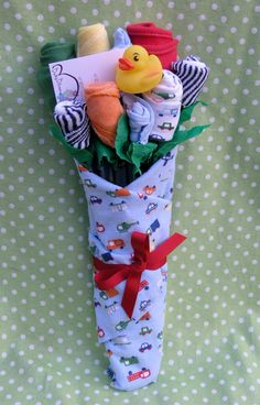 Boy's Baby Clothing Bouquet- 9 pieces. $30.00, via Etsy.
