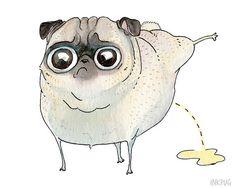 Peeing Pug Art Print - 5x7, 8x10, 8.5x11 - Pee Pilates, Funny Pug Print, Pug Bathroom Art, Strange Pug Drawing by InkPug! on Etsy, $10.00