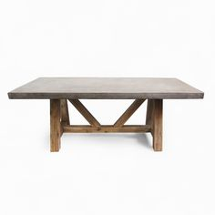"Modern outdoor cement resin dining table top with 4"" thick post legs."