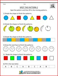 Spot the Pattern 2, kindergarten math worksheet, sequences