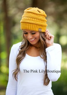 The Pink Lily Boutique - Mustard Knit Beanie , $15.00 (http://thepinklilyboutique.com/mustard-knit-beanie/)