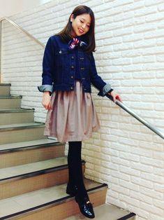 #リボン     #スカーフ     #Gジャン     #ボリュームスカート     #春     #カジュアルコーデ     #スカーフスタイル     #オトナカジュアル