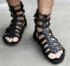 New Mens Runway Custom Shoes Gladiator Leather Strap Sandals in Clothing, Shoes & Accessories, Men's Shoes, Sandals & Flip Flops Sandals Outfit, Women's Shoes Sandals, Leather Sandals, Mode Masculine, Havaianas Slim, Shoes 2018, Gladiator Boots, Roman Sandals, Cheap Sandals