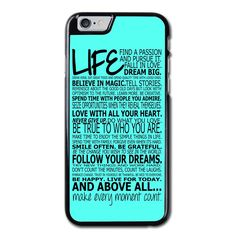Life Quotes Tiffany Color Phonecase for iPhone 6/6S Case Brand new.Lightweight, weigh approximately 15g.Made from hard plastic, also available for rubber materials.The case only covers the back and corners of your phone.This case is a one-piece case that covers the back and sides of the phone. There is no front for the case.This is a non-peeling nor a non-fading print. Meaning, over time it will continue to look just as amazing as it did when you first received it.