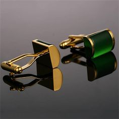Gold And Green Cufflinks