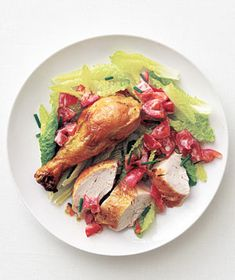 Buttermilk Chicken and Tomato Salad recipe from realsimple.com #MyPlate #protein #vegetables