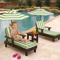 KidKraft Outdoor Youth Chaise Lounger Set, so cute!!!!