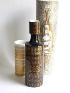 """Hans Theo Baumann 9"""" porcelain vase for Rosenthal Germany, black and gold, #MidCenturyFLA $100.00"""