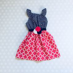Girls Sleeveless Easter Dress in Peony Pink and Navy with Flower Belt Girls Spring Dresses, Girls Easter Dresses, Baby Girl Dresses, Baby Dress, Girl Outfits, Pink Dresses, Baby Girls, Toddler Valentine Outfits, Valentines Outfits