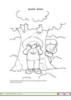 R E D I N N O V A D O R A S A T I C O 29 DELANTE – DETRÁS Pega serpentina alrededor del niño que está delante del árbol. ¿... Spanish Classroom Activities, Preschool Worksheets, Educational Activities, Preschool Activities, Human Drawing, Basic Drawing, Positional Words Kindergarten, Community Helpers Worksheets, Abc Phonics