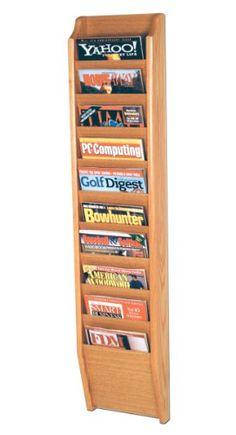 Offex Cascade 10 Pocket Magazine Rack, Light Oak