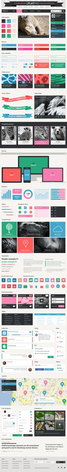 FlatPad, clean user interface (PSD), 12-column Grid by Repix Design, via Behance