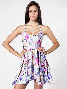 American Apparel - Floral Nylon Tricot Figure Skater Dress