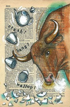 Ruckus : Rhian Wyn Harrison Bull in a china shop! Old Book Art, Vintage Tea Rooms, Doodle Wall, Animal Art Projects, Paper Animals, Dictionary Art, Printed Pages, Vintage Ephemera, Art Music