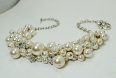 Pearl Cluster Necklace Ivory Pearl Rhinestones and by Eienblue, $30.00