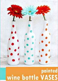 Create Your Own Painted Polka Dot Wine Bottles - 45 DIY Polka Dot Crafts You Haven't Did Before - DIY & Crafts