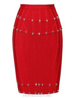 Herve Leger Red Stud Detail Bandage Skirt