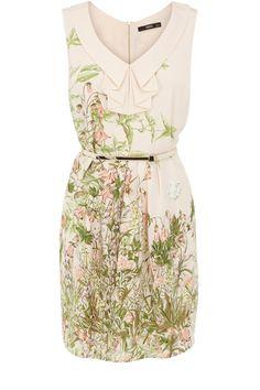 Weiches Kleid mit Rüschen und Kragen, mit Gräsern und Blumen-Motiv Oasis Kollektion 2013   AlleKleider24.de