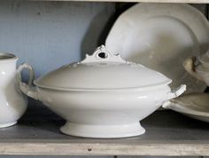 Antique White Ironstone Tureen - Covered Casserole Dish - Wedgwood & Co. England