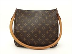 Louis Vuitton Authentic Monogram Looping MM Shoulder Bag Auth LV Show White, White Stain, Louis Vuitton Shoulder Bag, Monogram Canvas, Authentic Louis Vuitton, Clutch Bag, Louis Vuitton Monogram, Dust Bag, Pattern