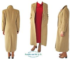 Vintage Golden Beige Wool Long Coat Size XS by BreatheandLetItBe
