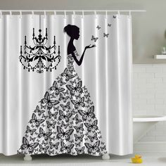 Madame Butterfly Print Shower Curtain