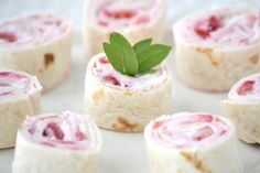 Strawberries and Cream Pinwheels for a baby girl shower.....you could also do blueberries for a baby boy shower.