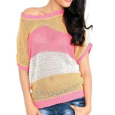 Dames trui gehaakt roze voorzien van brede strepen in drie kleuren. gemaakt van 50% katoen en 50% acryl. One size.    http://www.lookinggoodtoday.com/dames-kleding/truien-vesten-dames