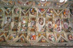 Michelangelo, plafond van de Sixtijnse Kapel, 1508-12, fresco, Vaticaan, Rome