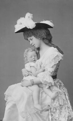 Crown Princess Maria, Princess of Edinburgh, later Queen consort of Romania - with her first born son Carol.
