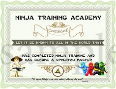 INSTANT DL- Ninjago Training Certificate – Ninjago Birthday Party -Printable (not personalized) - Modernes Lego Ninjago, Ninjago Party, Ninja Birthday Parties, Birthday Party Themes, Party Activities, Fun Activities For Kids, Party Mottos, Training Certificate, Party Printables